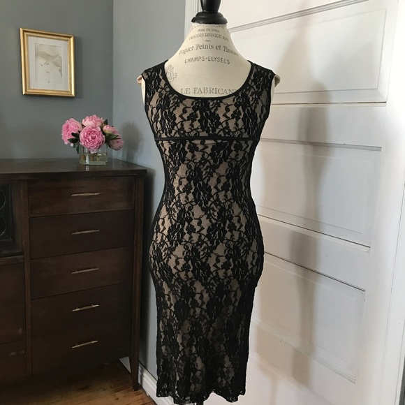 Wet Seal Dresses Slip On Black Lace Dress With Nude Lining Poshmark